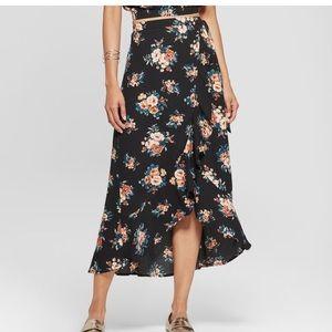 Xhilaration Black foral high low skirt